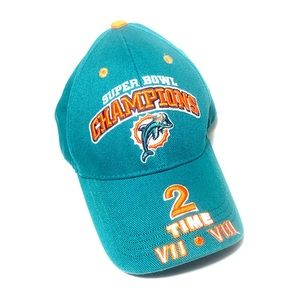 🏈HP🐬 Dolphins Super Bowl Champions 2 Times Hat